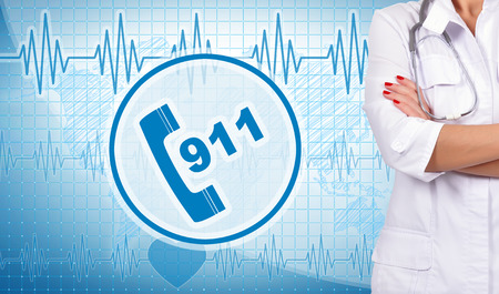 accident rate: woman doctor and 911 symbol on background