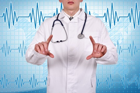 invisible object: Young doctor with stethoscope holding invisible object