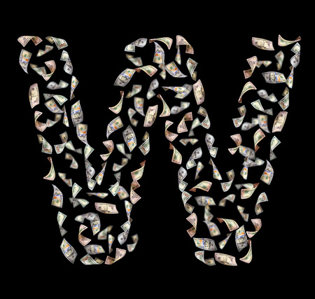 letter w: falling dollar bills in the form of letter W