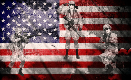 vintage military rifle: soldiers with rifle on a usa flag background, double exposure