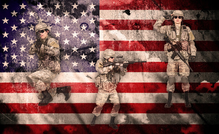 militant: Soldiers in combat readiness  on a usa flag background, double exposure