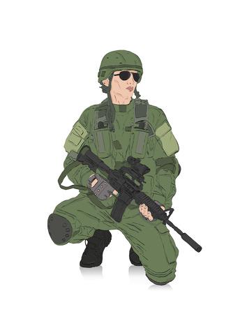 soldado con fusil de aislamiento en el fondo blanco