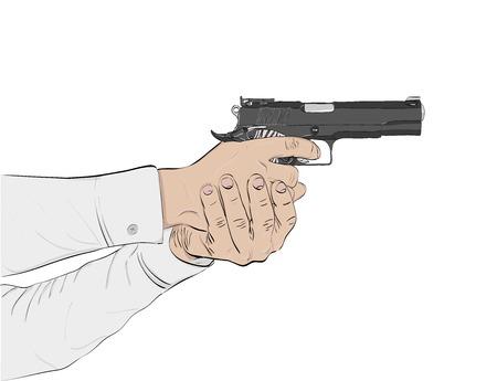 murderer: black gun in hands on a white background