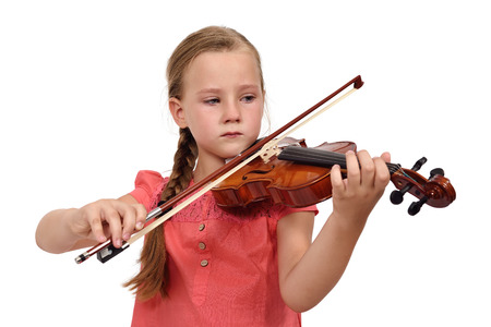 woman violin: sad girl with a violin on white background Stock Photo