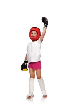 thai: muay thai boxing girl won the competition Stock Photo