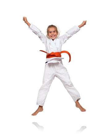 sash: happy little girl in kimono with a red sash