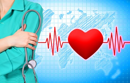taking pulse: woman doctor with stethoscope, pulse and heart on background