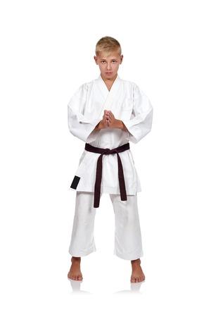 karate boy: Karate boy in kimono on white background