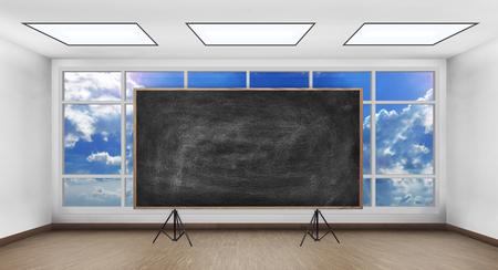 big window: blank chalk board in white room with big window