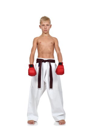 karate boy with red gloves on white background