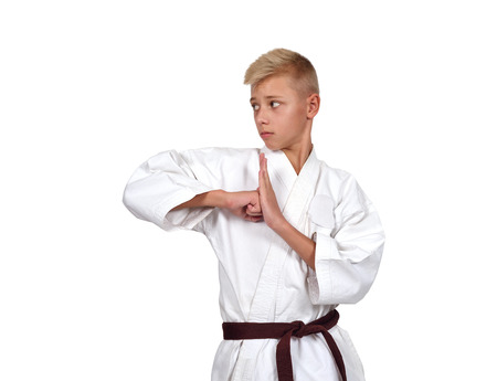 karate fighter: young karate boy in white kimono with brown belt