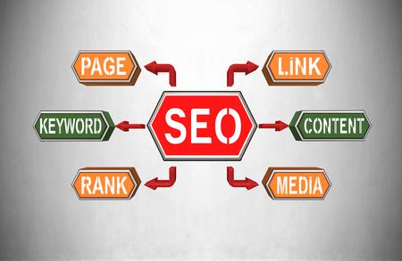 keywords link: SEO, Search Engine Optimization concept, 3d render