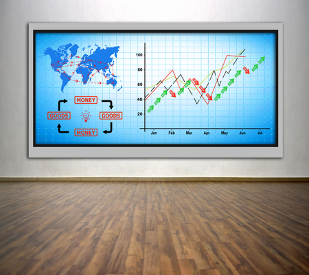 plasma tv: plasma tv with chart and air travel plan on wall in office Stock Photo
