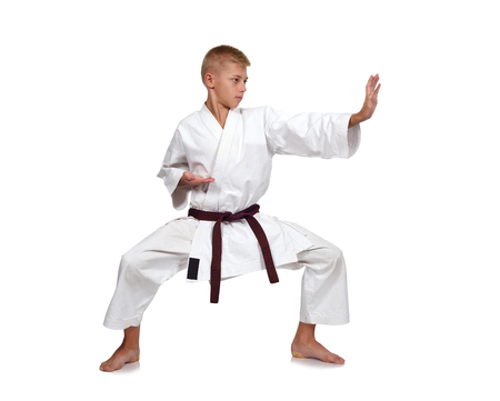 karate: young karate boy isolated on white background Stock Photo