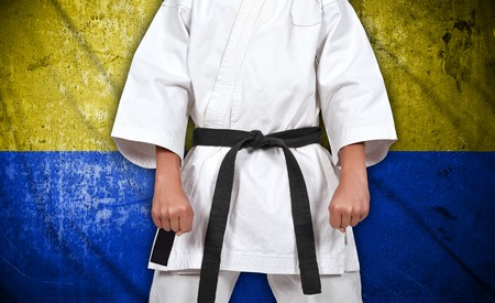 karate boy: Karate boy in kimono on ukraine flag background