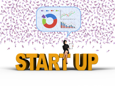 starting a business: young businesswoman thinking about starting a business