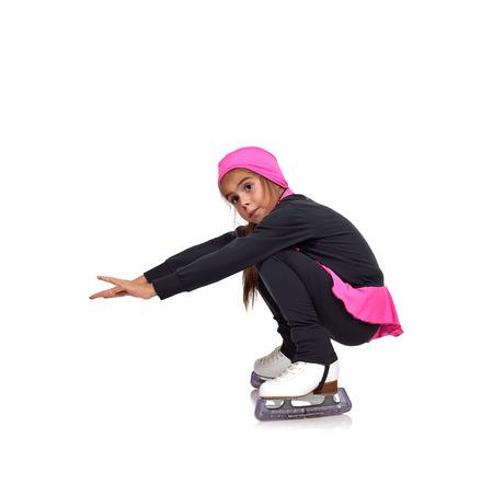 figure skating: little girl figure skating on a white background