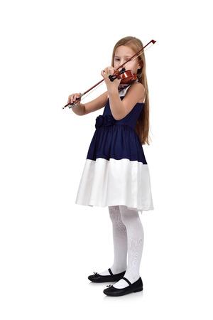 jeune fille: petite fille avec le violon sur un fond blanc Banque d'images