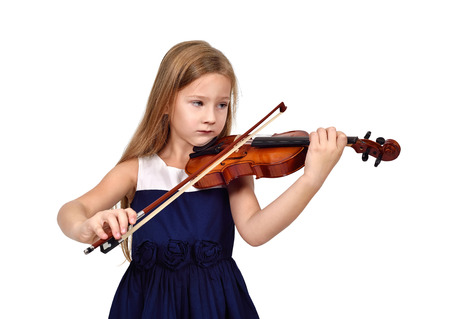 fiddles: girl playing the violin on white background