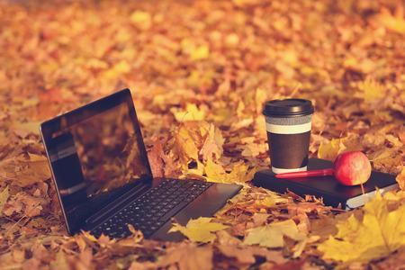 ノート パソコン、コーヒー、背景として秋風景の日記