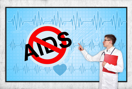 aids symbol: doctor pointing to screen with stop aids symbol