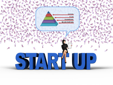 starting a business: young businesswoman thinking about starting a business, falling euro banknotes