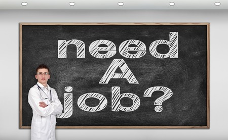 resourse: doctor standing in room and blackboard with drawing need a job