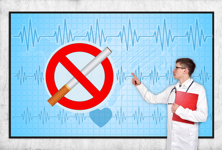 physiotherapist: doctor pointing to screen with stop smoking symbol