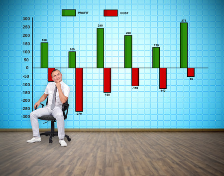 plasma tv: businessman sitting in room and thinking. big plasma tv wall with profit and cist chart Stock Photo