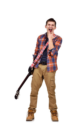 lead guitar: expressive rock man playing an electric guitar on white background