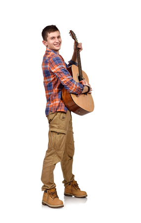 lead guitar: man playing an acoustic guitar  on white background Stock Photo