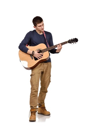 lead guitar: man with acoustic guitar on a white background