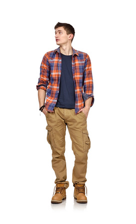 confortable: guy in a plaid shirt on a white background