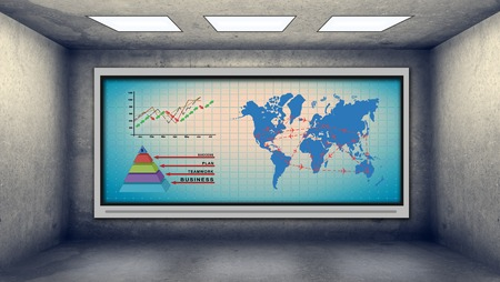 tv on wall: plasma tv on wall with stock chart and air travel scheme