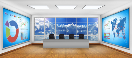 big screen tv: Modern boardroom. Big TV screen with business graph and stock exchange statistics