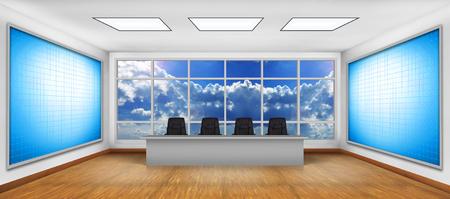 big screen tv: Modern boardroom. Two big blank TV screen