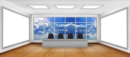 big screen tv: Modern boardroom. Two big white TV screen