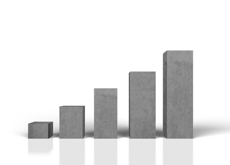 growth chart: gray concrete growth chart on white background