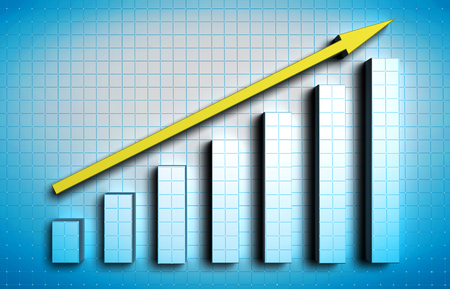 activating: growing blue graph with yellow arrow on blue background
