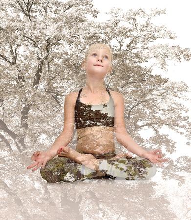 lotus effect: Little yoga girl sitting lotus position, Double exposure effect Stock Photo