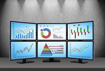 comercio: estación comercial que consta de cuatro pantallas con datos financieros