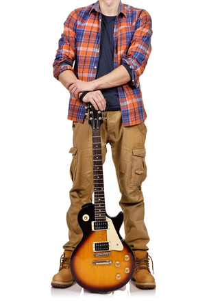 lead guitar: rocker musician with electrical guitar on white background
