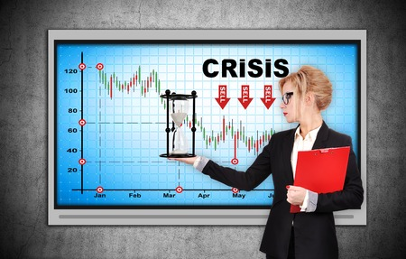 stock market crash: Businesswoman holding sandglass and red clipboard. Plasma panel with chart stock market crash