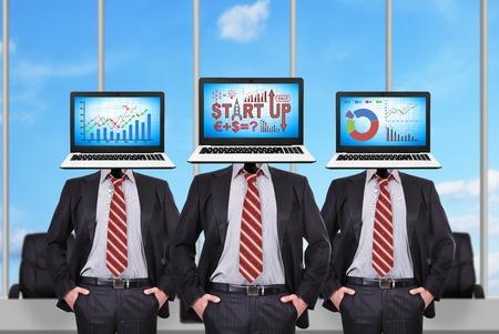 head start: Three businessman with a laptop instead of a head. Start up scheme on screen