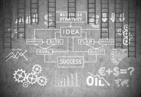business sign: drawing bussiness strategy on concrete wall and many black ladder Stock Photo
