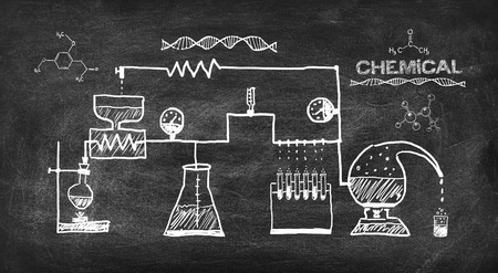 scheme chemical reaction drawing on black chalkboard Standard-Bild