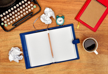 blank page: Retro vintage typewriter, pencil, cup and notebook with blank page