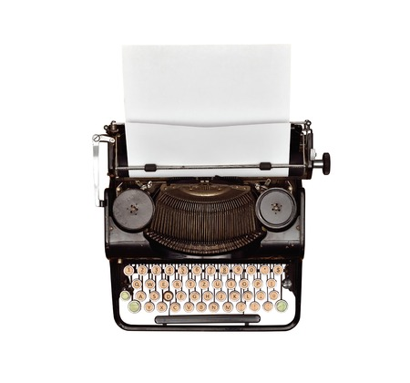 Vintage typewriter with blank paper, view from above