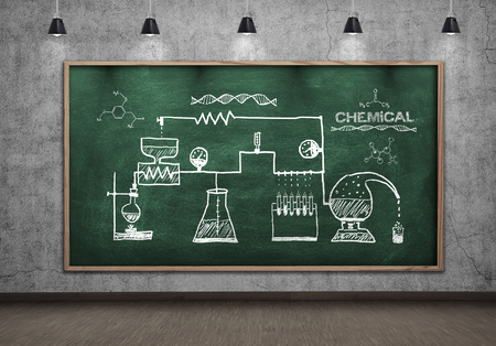 chemical reaction: scheme chemical reaction drawing on green chalkboard