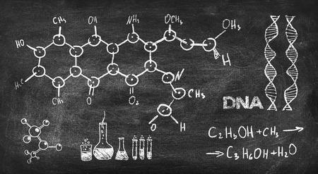 black board: drawing chemical formula on black chalk board Stock Photo
